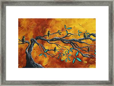 Original Bird Landscape Art Contemporary Painting After The Storm II By Madart Framed Print by Megan Duncanson