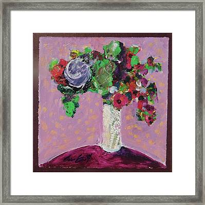 Original Bouquetaday Floral Painting 12x12 On Canvas, By Elaine Elliott, 59.00 Incl. Shipping Framed Print by Elaine Elliott