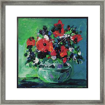 Original Bouquetaday Floral Painting By Elaine Elliott, Blues And Greens, 12x12, 59.00 Incl. Shippin Framed Print by Elaine Elliott