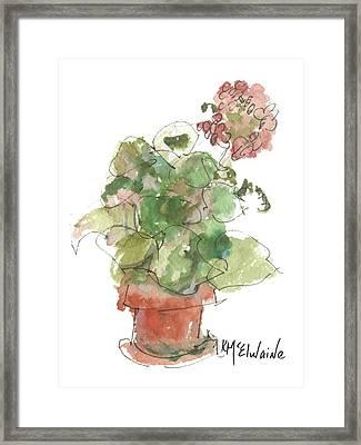 Original Buspaintings Geranium Watercolor Painting By Kathleen Mcelwaine Framed Print