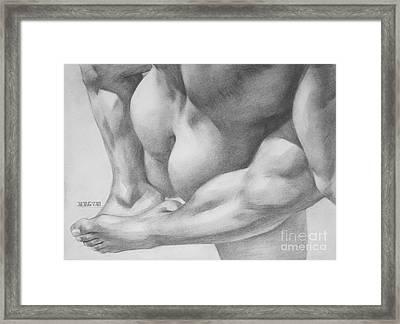 Original Charcoal Drawing Art Gay Interest Men  On Paper #16-3-11 Framed Print by Hongtao Huang