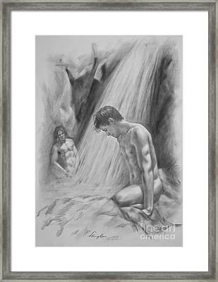 Original Charcoal Drawing Art Male Nude By Twaterfall On Paper #16-3-11-16 Framed Print by Hongtao Huang