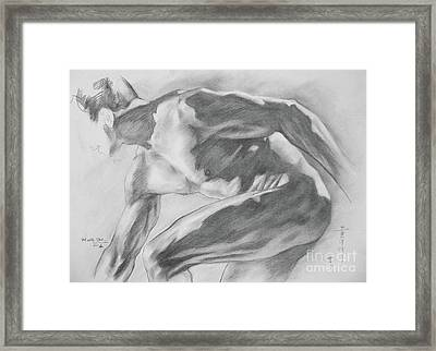Original Charcoal Drawing Art Male Nude  On Paper #16-3-10-11 Framed Print by Hongtao Huang