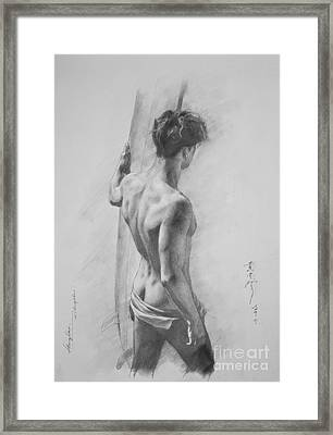 Original Charcoal Drawing Art Male Nude  On Paper #16-3-11-12 Framed Print by Hongtao Huang