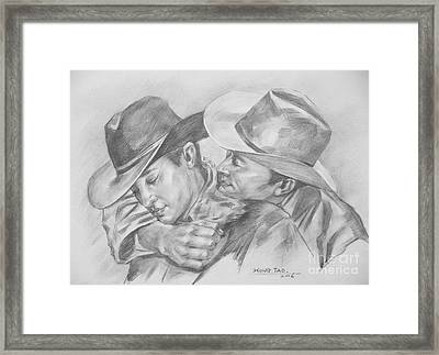 Original Charcoal Drawing Art Portrait  Of Cowboys On Paper #16-3-18-01 Framed Print by Hongtao Huang