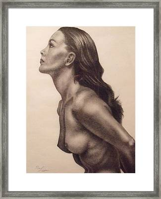 Original Charcoal Nude Female Profile Study Framed Print
