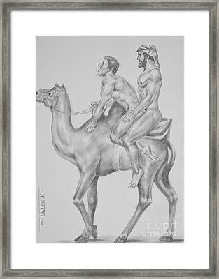 Original Charcoal Pencil Drawing Male Nude Gay Interest Man On Paper #7-1-2 Framed Print by Hongtao     Huang