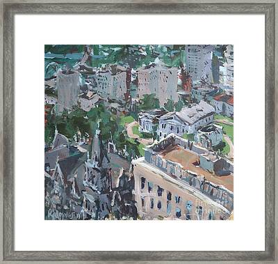 Framed Print featuring the painting Original Contemporary Cityscape Painting Featuring Virginia State Capitol Building by Robert Joyner