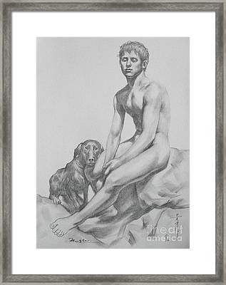 Original Drawing Boy And Dog On Paper #16-9-4 Framed Print by Hongtao Huang