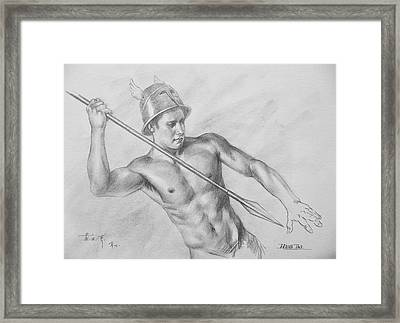 Original Drawing Charcoal  Male Nude Man On Paper#16-10-5-01 Framed Print by Hongtao Huang