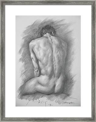 original Drawing male nude man #17325 Framed Print
