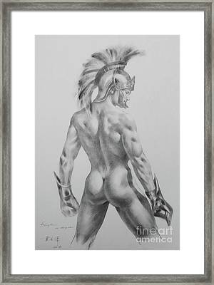 Original Drawing Sketch Charcoal Chalk Male Nude Gay Interst Man Art Pencil On Paper -0040 Framed Print