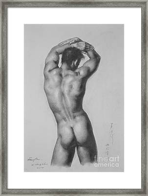 Original Drawing Sketch Charcoal Gay Interest Man Male Nude Art Pencil On Paper-0047 Framed Print
