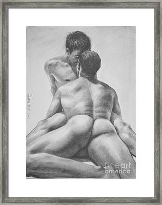Original Drawing Sketch Charcoal Male Nude Gay Interest Man Art  Pencil On Paper -0028 Framed Print by Hongtao     Huang