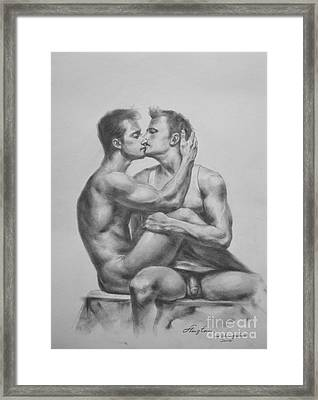 Original Drawing Sketch Charcoal Male Nude Gay Interest Man Art Pencil On Paper -0036 Framed Print