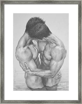 Original Drawing Sketch Charcoal  Male Nude Gay Interest Man Art Pencil On Paper -0041 Framed Print by Hongtao     Huang