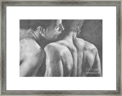 Original Drawing Sketch Charcoal Man Body  Male Nude Gay Interest Man Art Pencil On Paper -0029 Framed Print