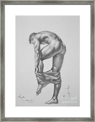 Original Drawing Sketch Charcoal Pencil Gay Interest Man Art  On Paper #11-17-14 Framed Print by Hongtao     Huang