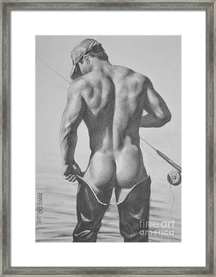 Original Drawing Sketch Charcoal  Pencil Male Nude Gay Interest Man Art Pencil On Paper -0031 Framed Print