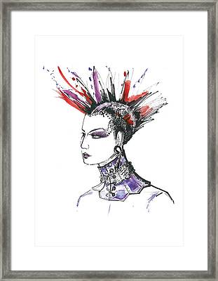 Punk Rock Girl  Framed Print by Marian Voicu