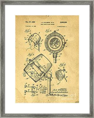 Original Hair Dryer Patent Framed Print by Edward Fielding