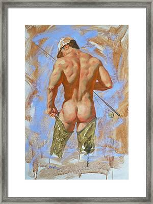Original Oil Painting Art Male Nude Fisherman On Linen #16-2-20 Framed Print