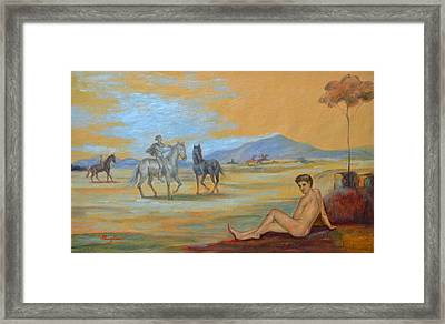 Original Oil Painting Art Male Nude With Horses On Canvas #16-2-5 Framed Print by Hongtao     Huang