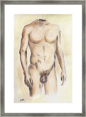Original Painting Of A Nude Male Torso Framed Print