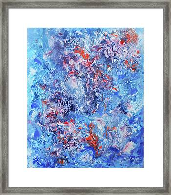 Original Painting Violets At A Winter Window In Abstract Style Framed Print by Natalya Zhdanova