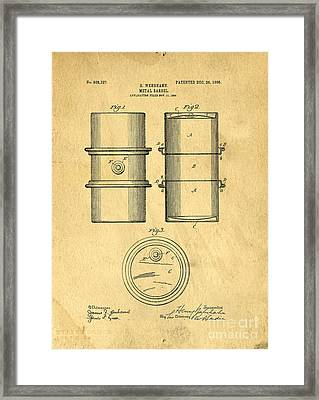 Original Patent For The First Metal Oil Drum Framed Print by Edward Fielding