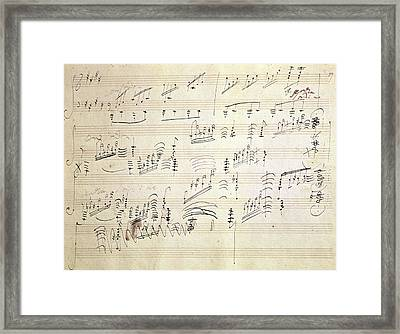 Original Score Of Beethoven's Moonlight Sonata Framed Print by Beethoven