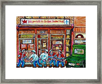 Original Street Hockey Art Paintings For Sale Les Produits Du Quebec Smoked Meat Pointe St Charles  Framed Print by Carole Spandau