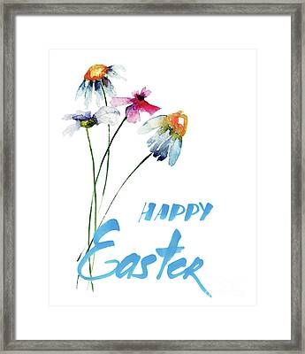 Original Summer Flowers With Title Happy Easter Framed Print