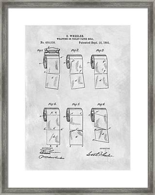 Original Toilet Paper Roll Patent Drawing Framed Print