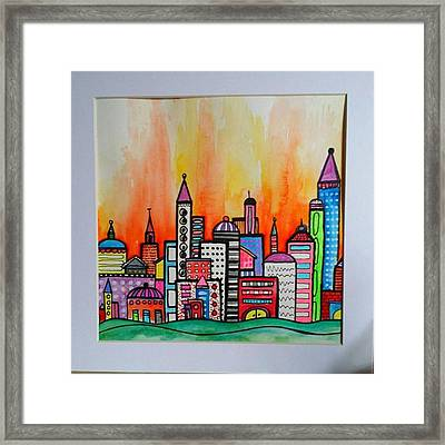Original #watercolor ..fire In The Framed Print by Robin Mead