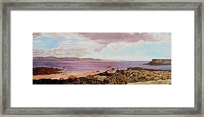Original Watercolor Painting - Dublin Seascape - 18.5 X 35.75 Framed Print by Daniel Fishback