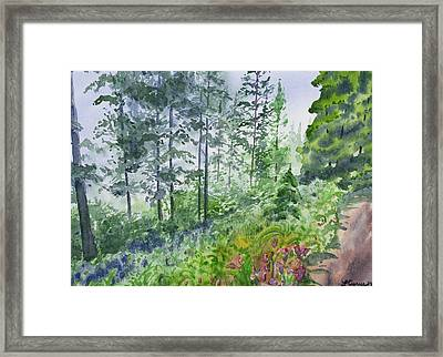 Framed Print featuring the painting Original Watercolor - Summer Pine Forest by Cascade Colors