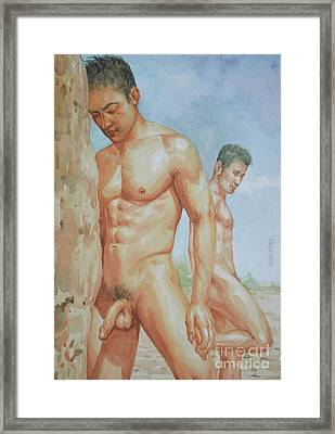 Original Watercolour Painting Art Young Men Male Nude Boys  On Paper #16-1-26-15 Framed Print
