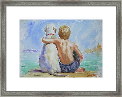 Original Watercolour Painting Nude Boy And Dog On Paper#16-11-18 Framed Print