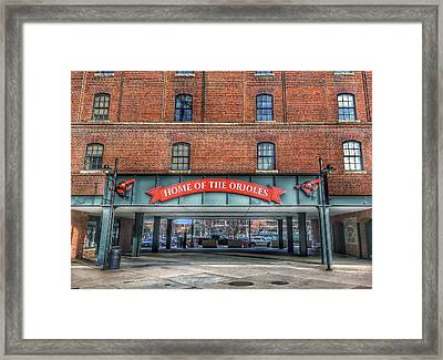 Oriole Park At Camden Yards - Sign Framed Print by Marianna Mills