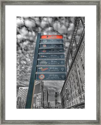 Oriole Park At Camden Yards Signs - Black And White Framed Print by Marianna Mills
