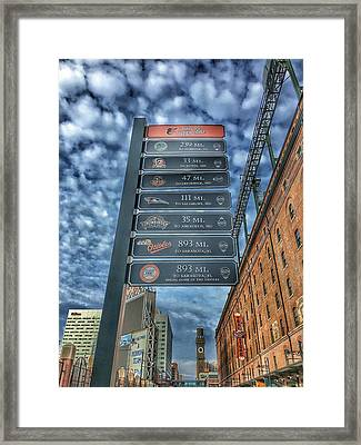 Oriole Park At Camden Yards - Signs Framed Print by Marianna Mills
