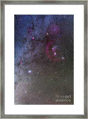 Orion And Canis Major With The Dog Star Framed Print by Alan Dyer