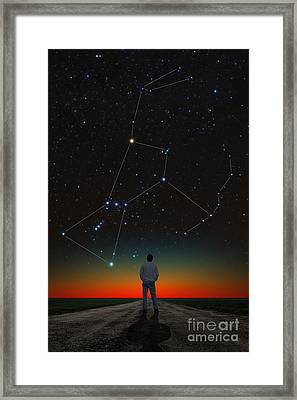 Orion And Stargazer Framed Print by Larry Landolfi
