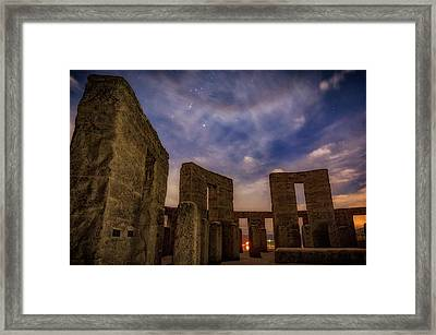 Framed Print featuring the photograph Orion Over Stonehenge Memorial by Cat Connor