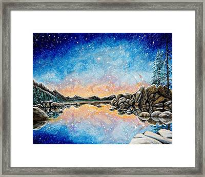 Orion Over Tahoe Winter Framed Print