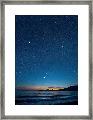Orion Over The Georgia Strait, Canada Framed Print by David Nunuk