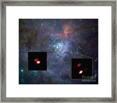 Orion Trapezium Cluster, Binary Stars Framed Print by ESO/GRAVITY Consortium/NASA/ESA/M. McCaughrean