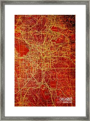 Orlando Antique Map Red And Yellow Framed Print