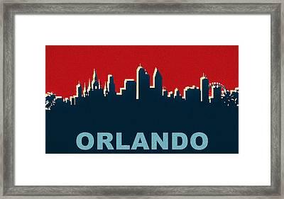 Orlando Skyline Pop Art Framed Print